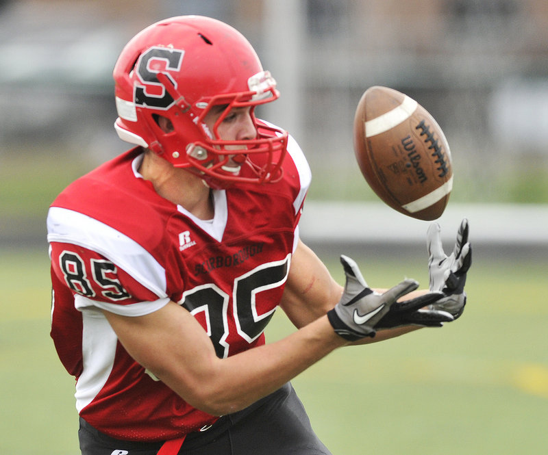 Maybe a bobble, just a bobble, but Scarborough receiver Chris Cyr is able to keep his focus on the football and haul in a catch for a first down.