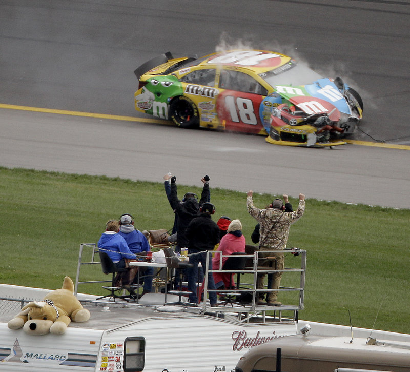 Kyle Busch is the big loser after crashing out of his third straight Sprint Cup, dropping him from third in points to a distant fifth.
