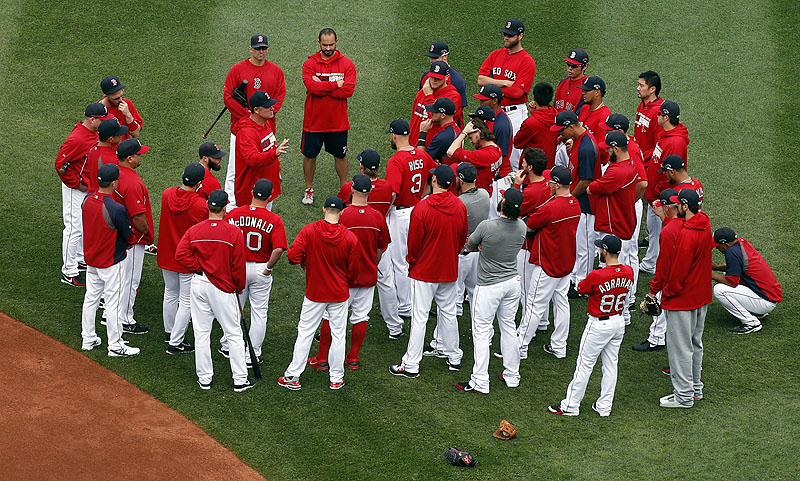 While waiting for an AL Championship Series opponent, the Boston Red Sox listened to Manager John Farrell before a Fenway workout Thursday.
