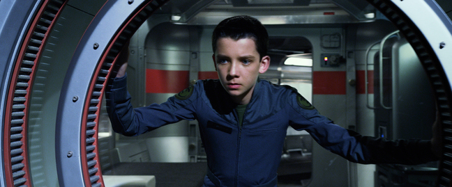 "This publicity photo released by Summit Entertainment shows Asa Butterfield in a scene from the film, ""Ender's Game."""