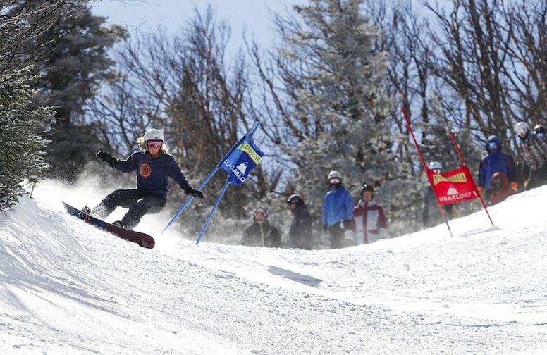 In this 2011 file photo, Ashley Taylor takes her first run on the Sugarloaf Banked Slalom. Sugarloaf ski resort has opened for the 2013-14 season.