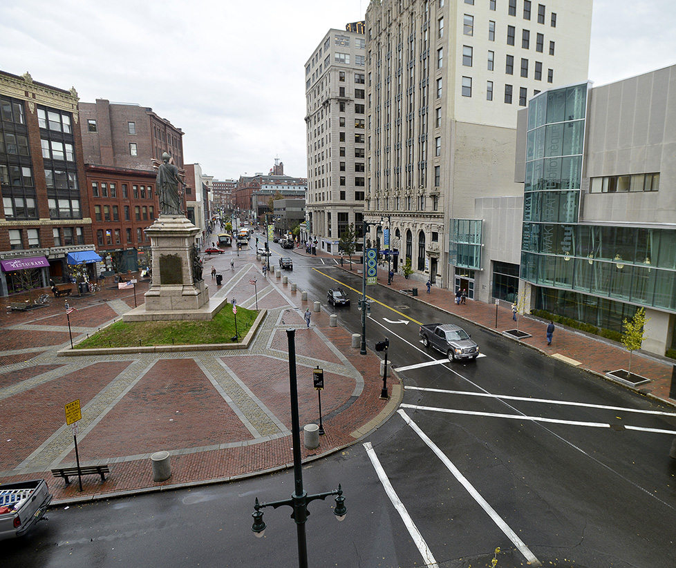 John Patriquin/StaffPhotographer: Friday, Nov.1, 2013. Flashback photo of Monument Square in Portland. Flashback