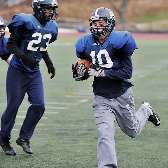 Justin Zukowski has been one of the top players in the state, leading Eastern Class A in rushing. He's thinking about playing football and basketball at Bates College.