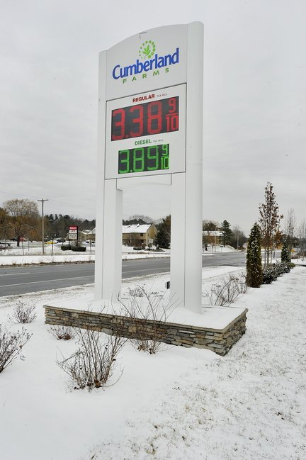 In this November 26, 2013 photo, the Cumberland Farms convenience store on Roure 1 in Yarmouth. Gas prices rose an average of 6 cents in a week across the state of Maine. At this station, the price rose 10 cents, but was still below the $3.45 per gallon state average.