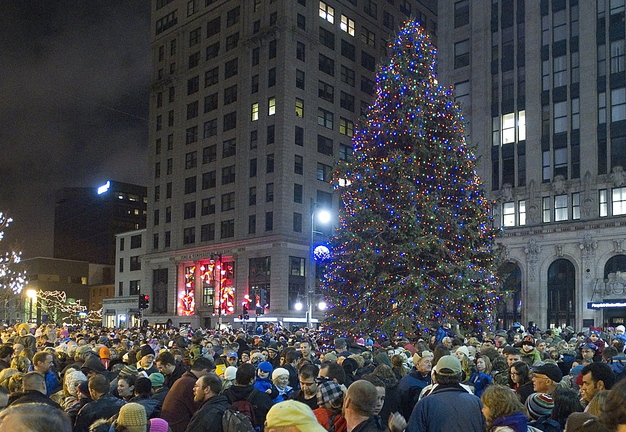 The lighting of the Christmas tree draws a crowd to Portland's Monument Square last November. This year's event, with music by Rick Charette, takes place at 5:30 p.m. Friday.
