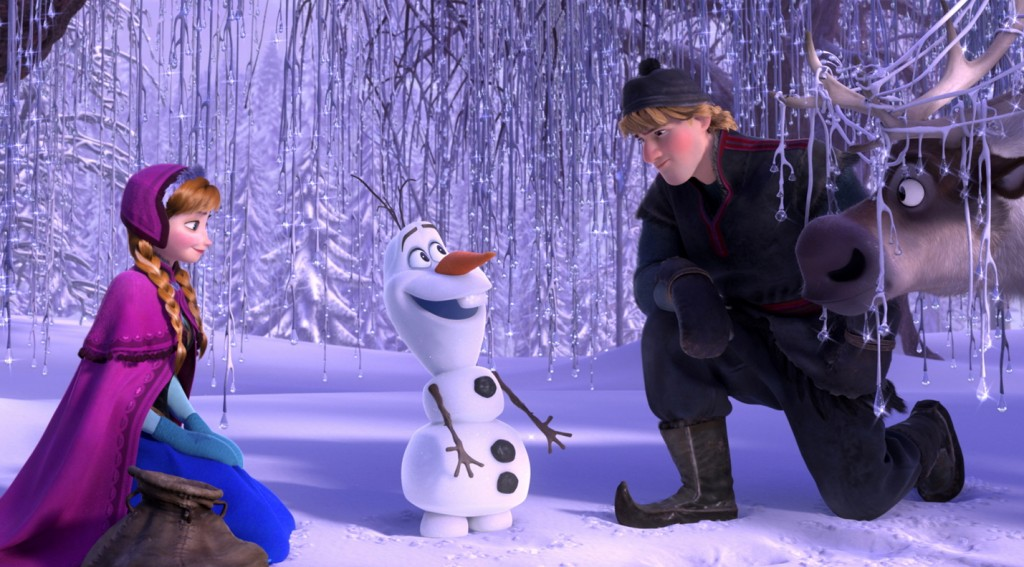 Anna, voiced by Kristen Bell, and Kristoff, voiced by Jonathan Groff, with the scene-stealing snowman Olaf, voiced by Josh Gad, in