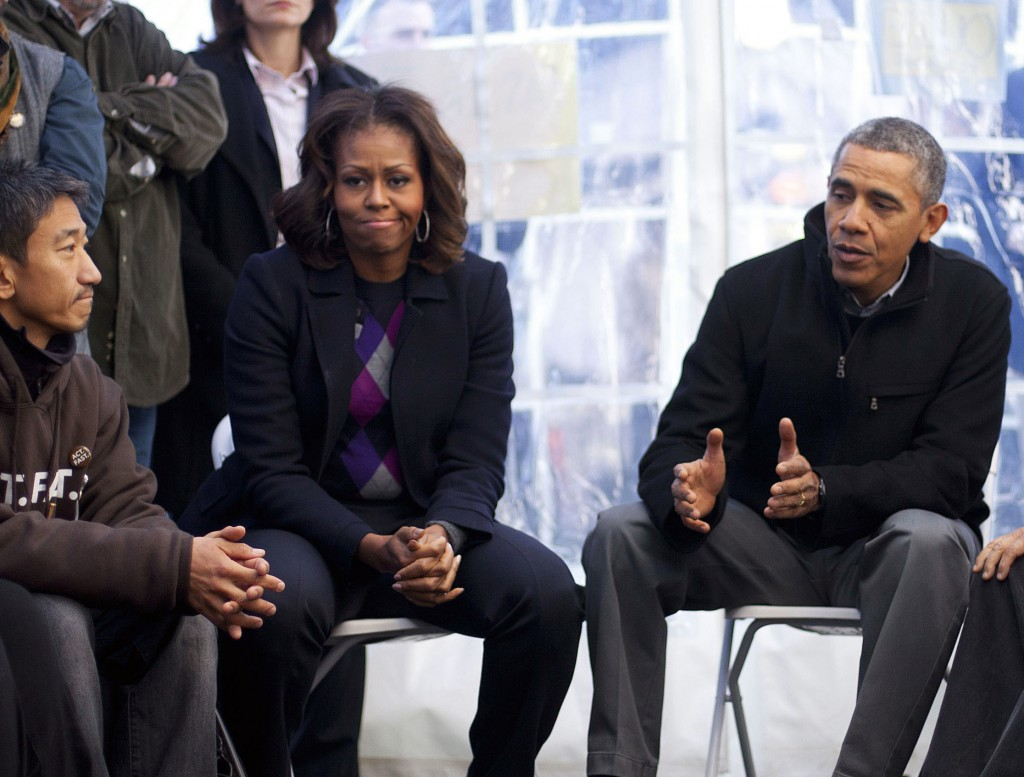 President Obama and first lady Michelle Obama met with demonstrators for about 30 minutes Friday.