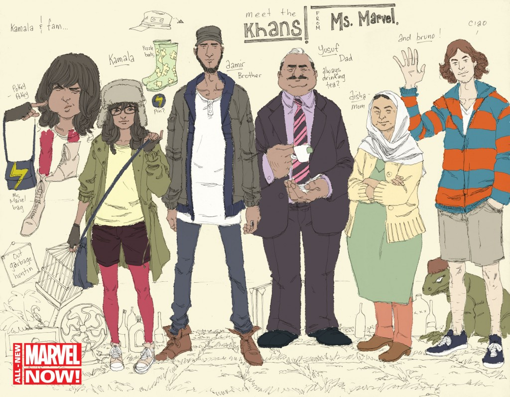 """This comic book image released by Marvel Comics shows character Kamala Khan , second left, with her family Aamir, father Yusuf, mother Disha and friend Bruno, from the """"Ms. Marvel"""" issue. The new monthly Ms. Marvel is debuting as part of the Company's popular All-New Marvel NOW! initiative."""