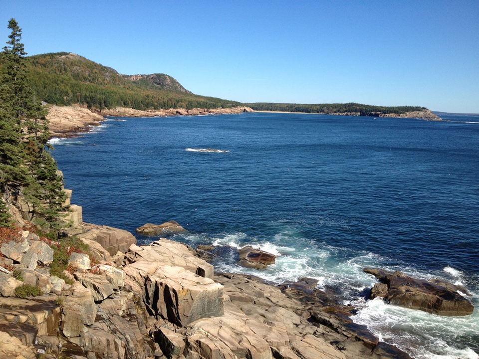 The 150-foot sheer walls of Otter Cliffs offer one of the more magnificent views during the 2.2-mile trail that connects Sand Beach to Otter Point, running parallel to Ocean Drive in Acadia National Park.