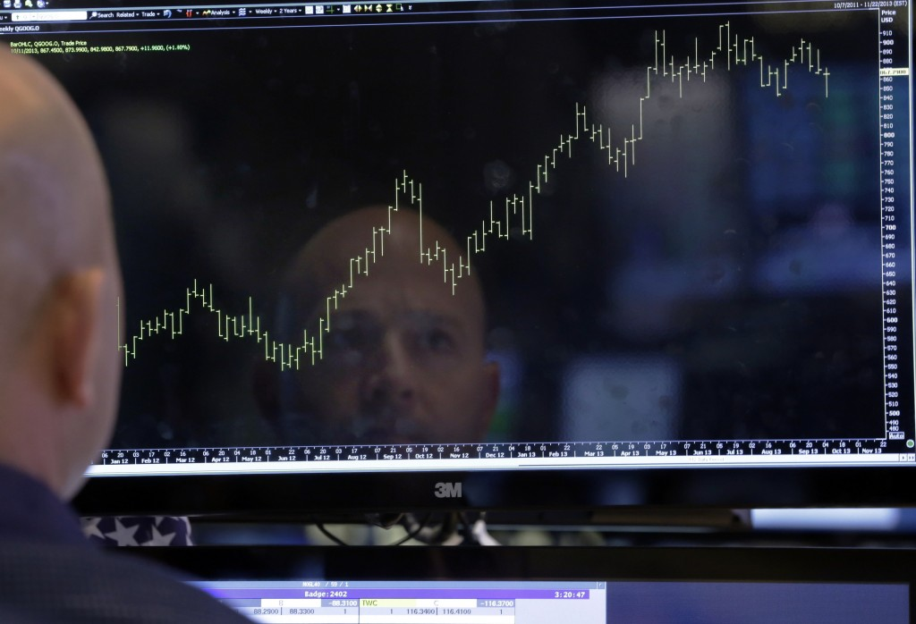 Specialist Jay Woods is reflected in a screen at his post on the floor of the New York Stock Exchange. Stocks are on track for their best annual performance in a decade, with all 10 industry groups in the Standard & Poorís 500 index set to finish 2013 with a gain of 10 percent or more.