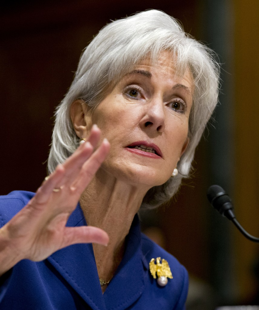 HHS Secretary Kathleen Sebelius testifies Wednesday in Washington at a Senate Finance Committee hearing.