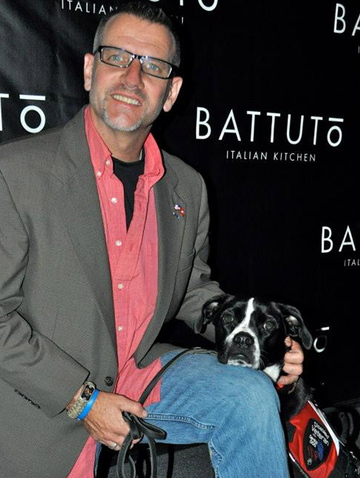 Richard Brewer and his dog Anka in Dallas, Texas.