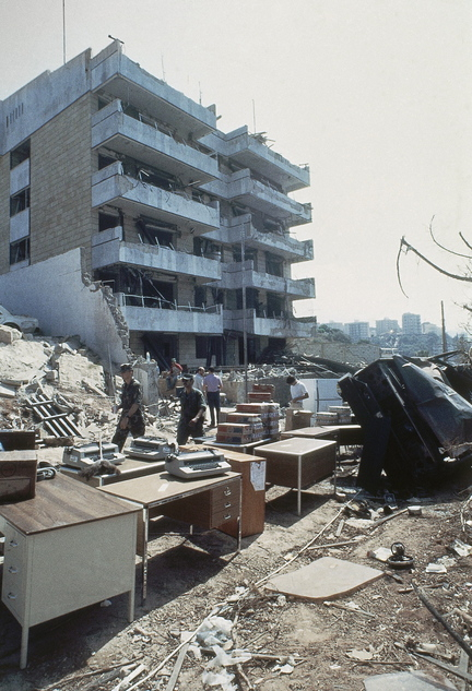 Office equipment stands outside the damaged U.S. Embassy annex in the Christian sector of East Beirut, Lebanon, on Sept. 25, 1984, as cleanup work continued in the aftermath of a car bomb attack.