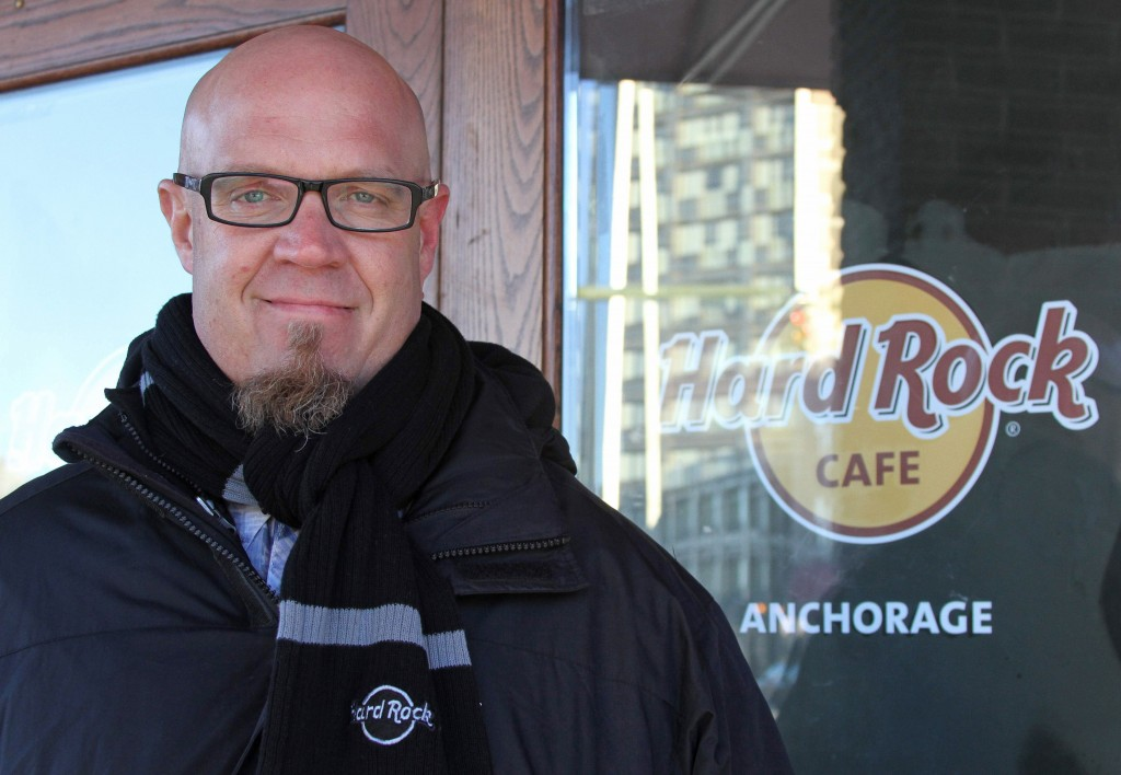 General manager Scott Brokaw poses outside the new Hard Rock Cafe under construction in Anchorage, Alaska.