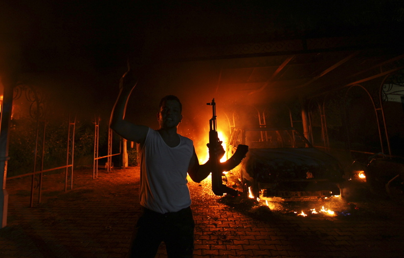 The U.S. Consulate in Benghazi, Libya, is seen in flames on Sept. 11, 2012, after armed gunmen attacked the compound.