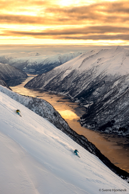 "Kaylin Richardson and Aurelien Ducroz ski in Norway in ""Ticket to Ride."""