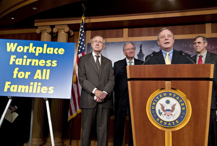 Senate Majority Whip Dick Durbin, D-Ill., right, speaks at a news conference as the Senate made a historic vote on legislation outlawing workplace discrimination against gay, bisexual and transgender Americans, demonstrating the nation's quickly evolving attitude toward gay rights nearly two decades after Congress rejected same-sex marriage, on Capitol Hill in Washington, Thursday, Nov. 7, 2013. From left to right are Senate Majority Leader Harry Reid, D-Nev., Sen. Tom Harkin, D-Iowa, Senate Majority Whip Dick Durbin, D-Ill., and Sen. Jeff Merkley, D-Ore. The enthusiasm of the bill's supporters was tempered by the reality that the Republican-led House, where conservatives have a firm grip on the agenda, is unlikely to even vote on it.