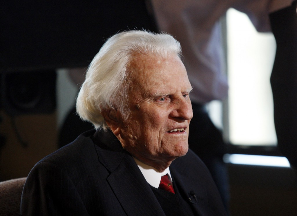FILE - In this Dec. 20, 2010 file photo, evangelist Billy Graham, 92, speaks during an interview at the Billy Graham Evangelistic Association headquarters in Charlotte, N.C. Mark DeMoss of the Atlanta-based DeMoss Group said Wednesday, Nov. 20, 2013 that the 95-year-old evangelist had been admitted for observation at Mission Hospital in Asheville, N.C. DeMoss says he expected Graham would be able to go home in a day or so.