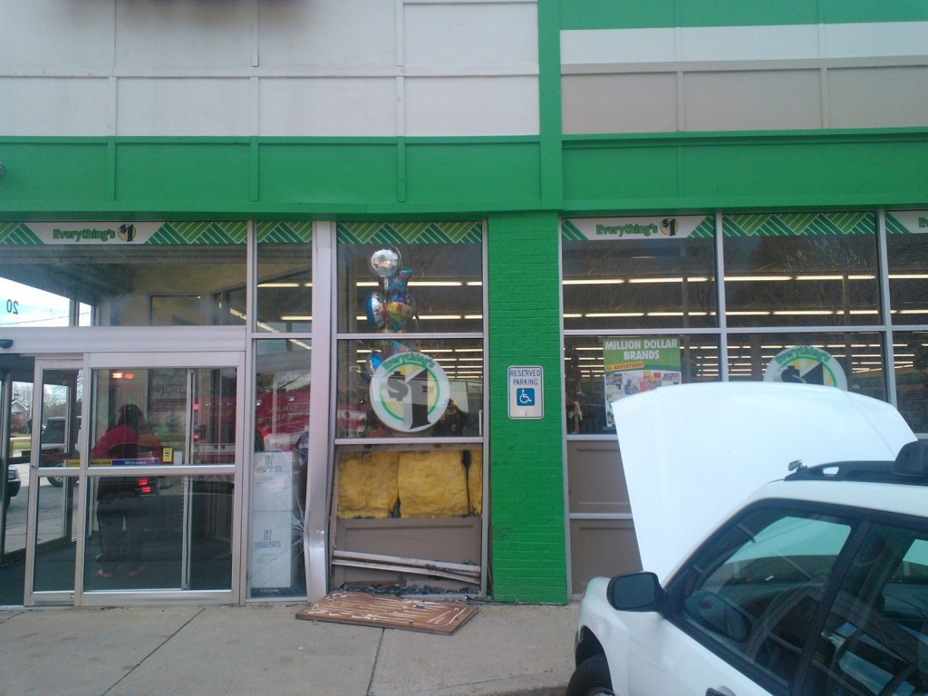 The front of the Dollar Tree store in Gray was damaged Friday when a car crashed into it.