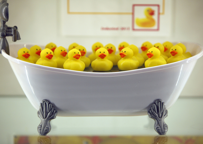 "A tubful of rubber ducks – a fun toy made famous by the ""Rubber Duckie"" song on ""Sesame Street"" – is displayed Thursday at the National Toy Hall of Fame in Rochester, N.Y."