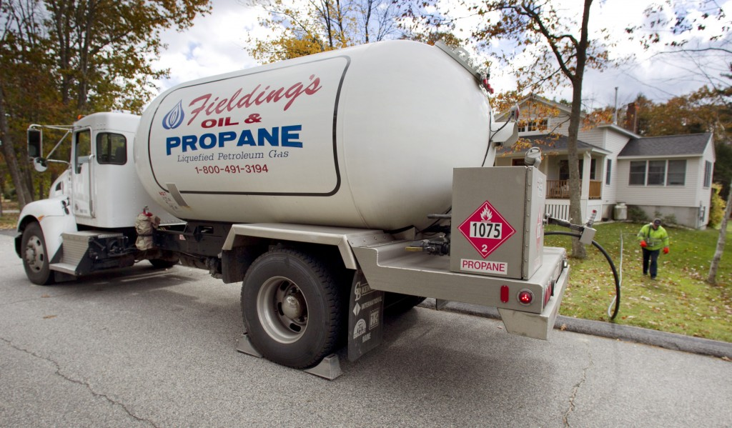Propane is delivered to a home in Falmouth in this Oct. 24, 2013, photo.