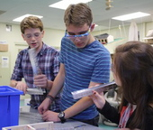 The Kennebunk robotics team includes, from left, Ben Broughton, Nate Gere and Maia Mulcahy.
