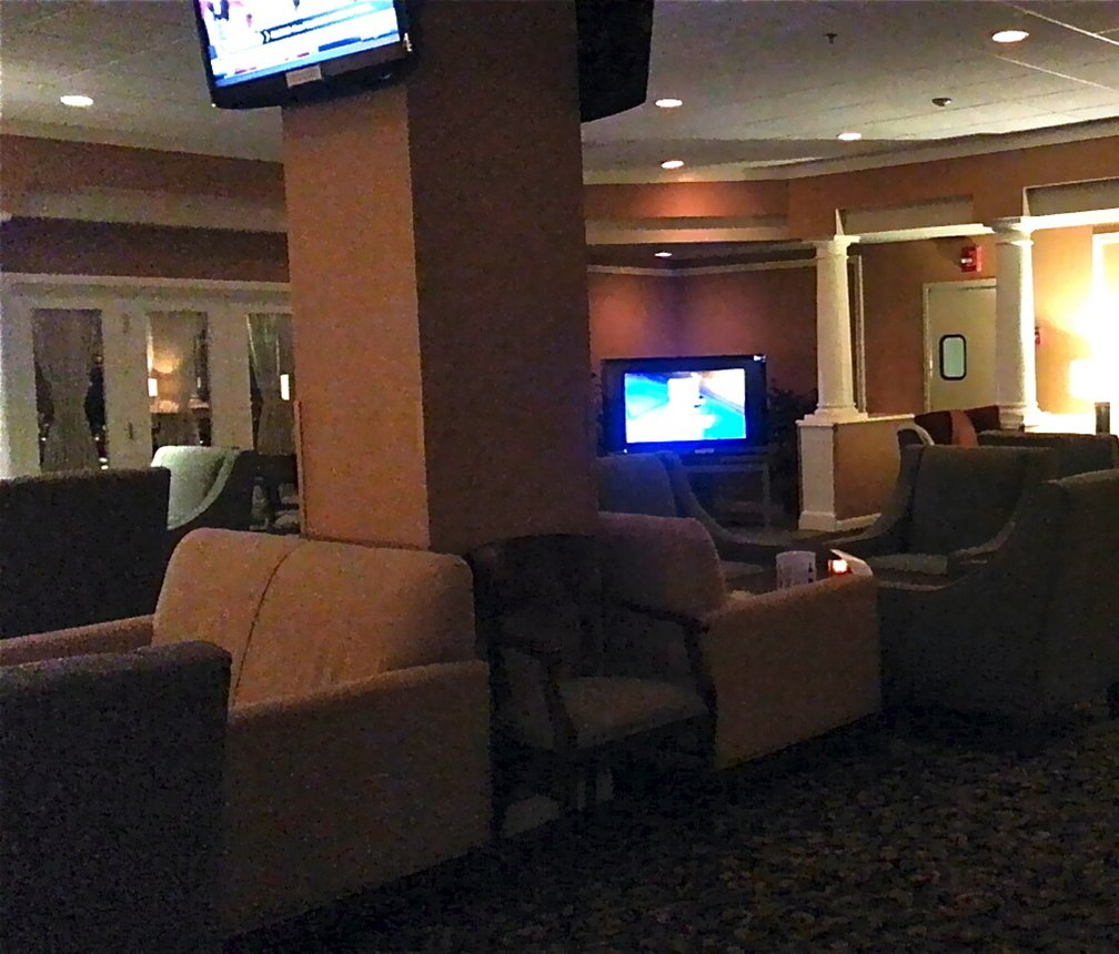 The Port of Call Lounge at the Holiday Inn by the Bay can fit about 30 people comfortably.
