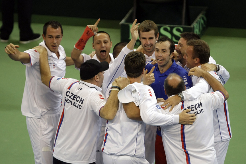 Members of the Czech national tennis team celebrate after they won the Davis Cup Finals in Belgrade, Serbia, on Sunday. The Czech Republic defeated Serbia 3-2.
