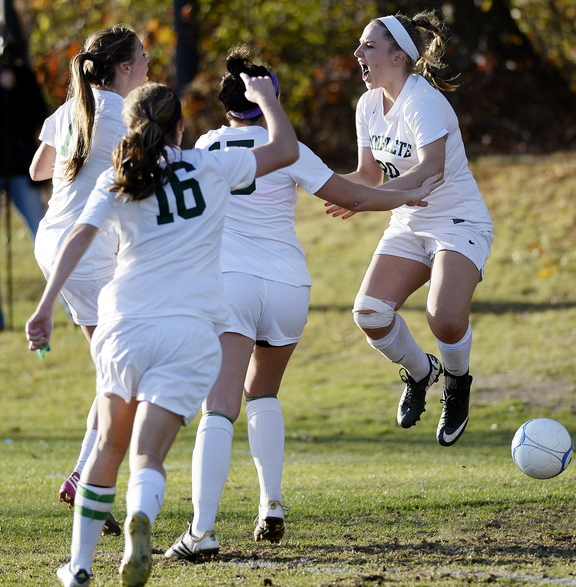 Cat Johnson, right, starts the Waynflete celebration Wednesday after scoring an early second-half goal in the Western Class C final against Sacopee Valley. The goal proved enough: The Flyers emerged with a 1-0 victory.