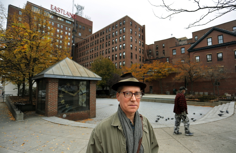 Frank Turek, president of the Friends of Congress Square Park, poses for a portrait Thursday in Congress Square Park.