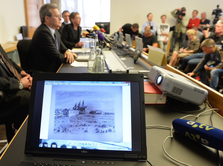 Antonio Canaletto's painting is shown on a computer screen during a Tuesday news conference in Augsburg, Germany, as authorities discuss art found last year in a Munich apartment that likely had been stolen during the 1930s by Nazis.