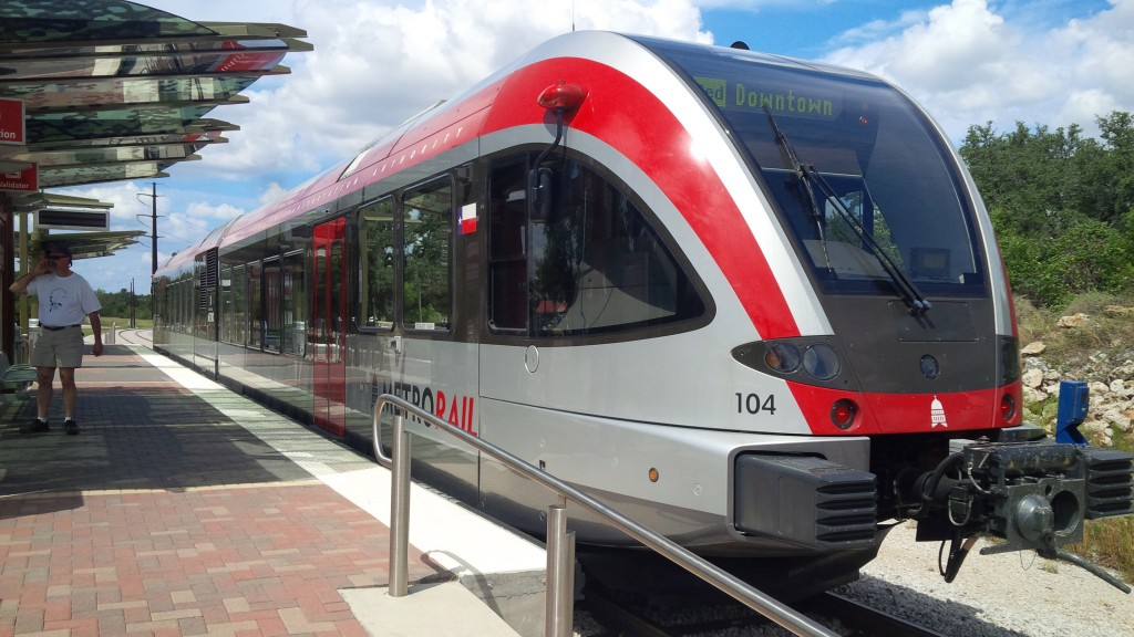 One of six self-propelled rail cars is used by the Capital Metropolitan Transportation Authority in Austin, Texas. These lightweight cars, manufactured by Stadler Rail of Switzerland, are the kind of cars that would be used in a proposed commuter rail service between Portland and Auburn on a 30-mile line owned by the state.