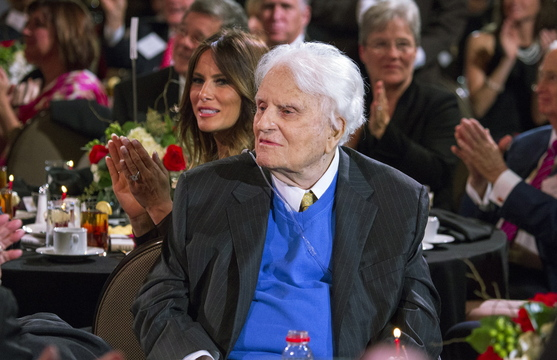 U.S. evangelist Billy Graham makes a rare public appearance Thursday during the celebration of his 95th birthday in Asheville, N.C.