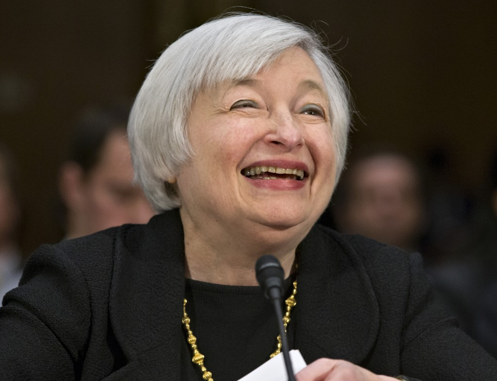 Janet Yellen, nominated to be Federal Reserve chairman, testifies before the Senate banking panel on Capitol Hill.