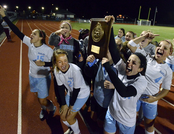 The celebration for Windham came Wednesday after Emily Gorrivan scored in the second OT to beat Thornton Academy. The trophy? That's for winning Western Class A.