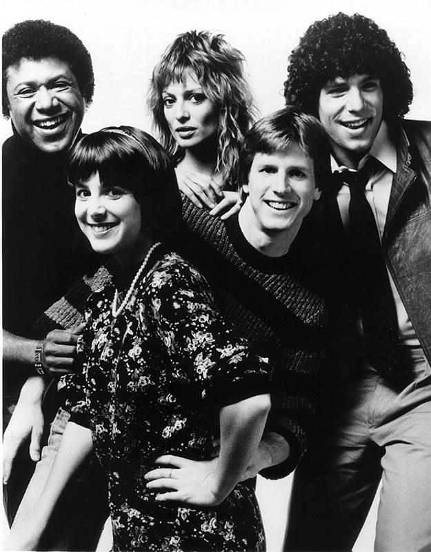 Early MTV VJs, back row: J.J. Jackson, Nina Blackwood and Mark Gordon; front row: Martha Quinn and Alan Hunter