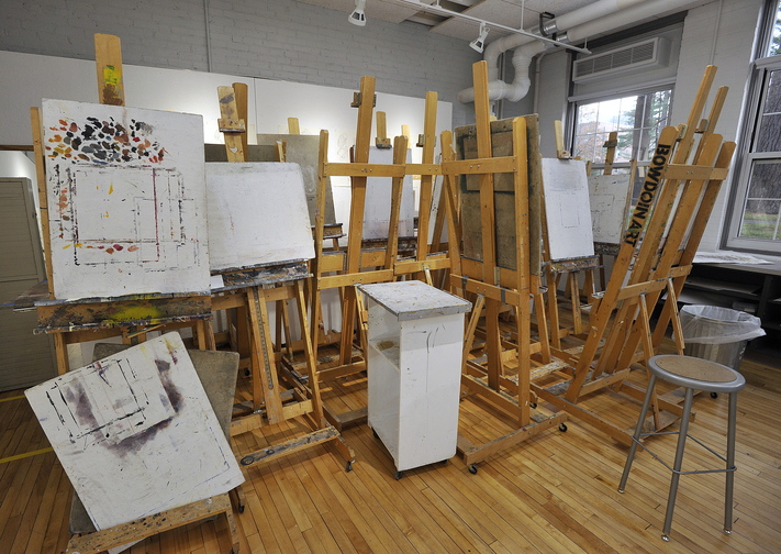 Artists easels stand in the corner of a drawing studio at the new center.