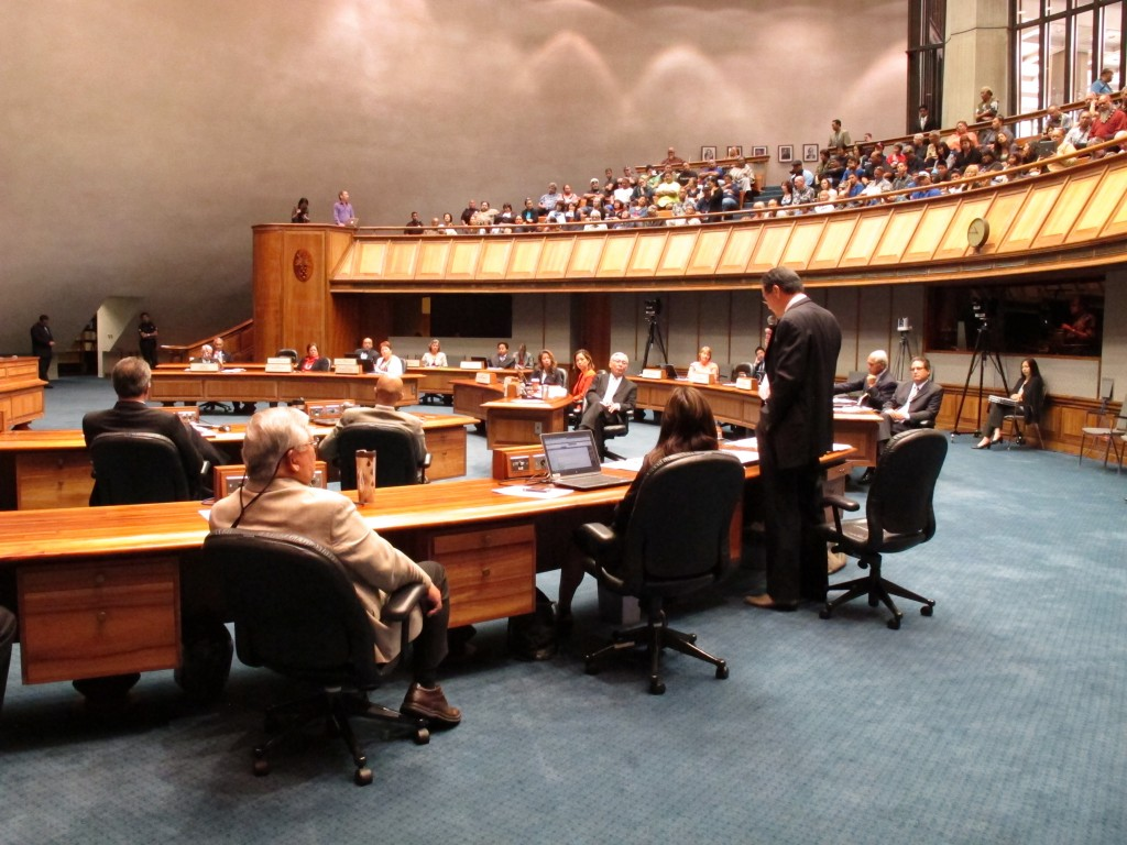 Senate lawmakers debate a gay marriage bill at the Hawaii Capitol in Honolulu on Tuesday. The bill allowing same-sex couples to wed on the islands starting Dec. 2 is expected to pass easily.