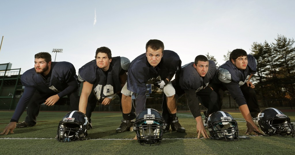 The Portland High offensive linemen may have a huge say in who wins the Eastern Class A final Saturday against Cheverus. From left: tackle Dominic DiMillo, guard Luigi Grimaldi, center Stephen Walsh, guard Josh Sullivan, tackle Jake Dutton.