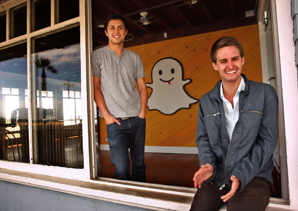 Bobby Murphy, 24, left, and Evan Spiegel, 22, co-creators of Snapchat, pose for a portrait at the company's offices in Venice, Calif. Snapchat is a mobile app that allows users to capture videos and pictures that self-destruct after a few seconds.