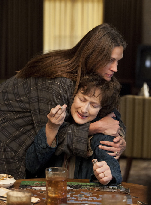 "Meryl Streep (seated) and Julia Roberts in ""August: Osage County."""