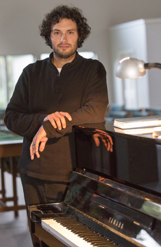 Pianist Derek Herzer performs on Friday at the Franco Center in Lewiston.