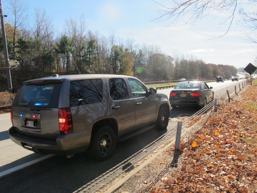 An unmarked New York State Police SUV is seen in Mount Pleasant, N.Y., recently, after a trooper pulled over another driver for distracted driving.