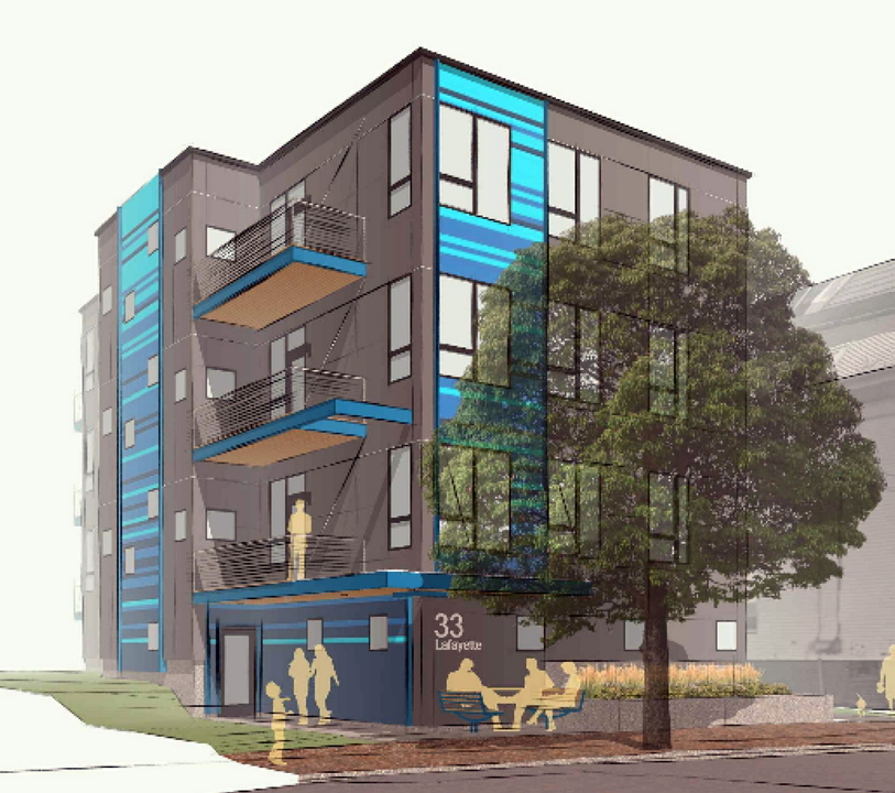 An architect rendering shows new condominiums proposed for Lafayette Street.