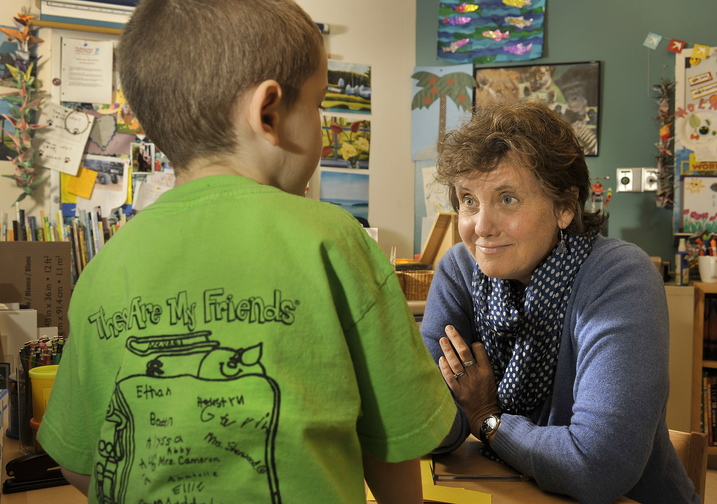 John Ewing/staff photographer... November 22, 2013…Abby Snyder is the only hospital based teacher in the state, working out of the pediatric ward at Maine Medical Center in Portland. Snyder works with a patient, Carter Blanche, 6, of Augusta, during a recent session.