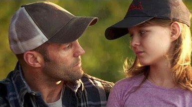 "Jason Statham and Izabela Vidovic in ""Homefront."""
