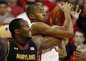 Charles Mitchell of Maryland, left, works for a rebound against Trey McDonald of Ohio State in the second half of fifth-ranked Ohio State's 76-60 victory Wednesday night in the ACC/Big Ten Challenge.