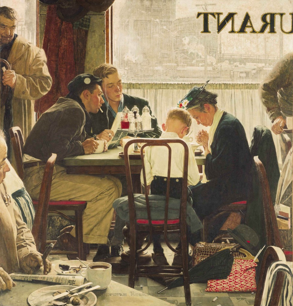 """Saying Grace,"" by Norman Rockwell, sold at an auction on Wednesday, Dec. 4, 2013 for $46 million, a record for the Saturday Evening Post illustrator and for any American artwork sold at auction."