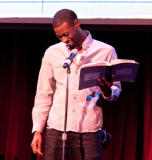 Garry Davis reads at a Mortified event in Boston.