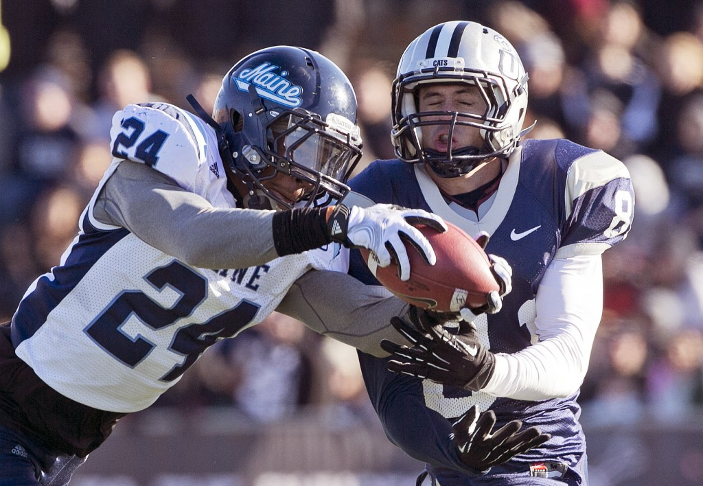 Maine defensive back Khari Al-Mateen, shown vying for a pass, may have made the Black Bears' most critical play of 2013 when his 41-yard run on a fake punt changed momentum in a game against Villanova.